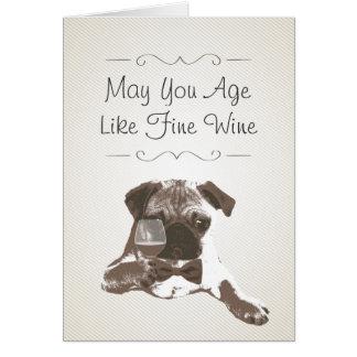 Classy Dog & Fine Wine Birthday Greeting Card