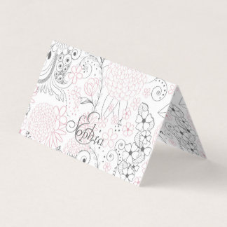 Classy doodles hand drawn floral artwork business card