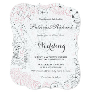 Classy doodles hand drawn floral Wedding design Card