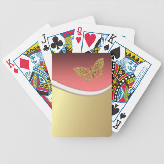 Classy Elegant Faux Gold ,Butterfly Bicycle Playing Cards