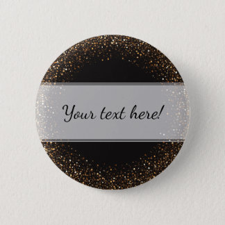 Classy, Elegant Golden Confetti on Black with Name 2 Inch Round Button
