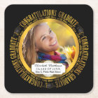 Classy Elegant Graduation Photo Square Paper Coaster