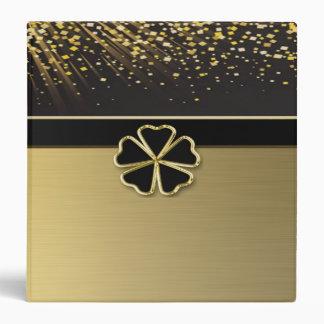 Classy Elegant Irish Shamrock ,Faux Gold Confetti 3 Ring Binders
