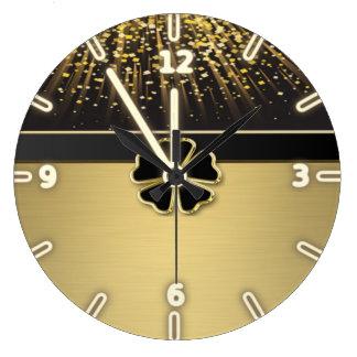 Classy Elegant Irish Shamrock ,Faux Gold Confetti Clock