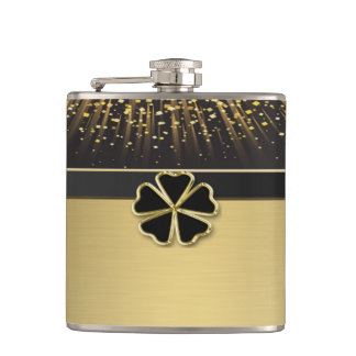 Classy Elegant Irish Shamrock ,Faux Gold Confetti Flasks