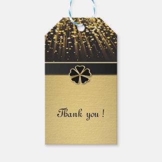 Classy Elegant Irish Shamrock ,Faux Gold Confetti Pack Of Gift Tags