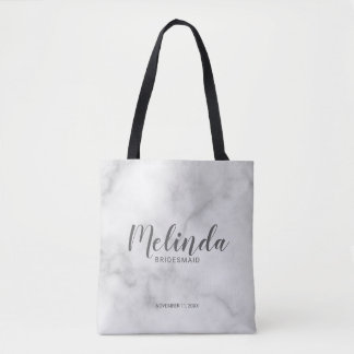 Classy Elegant Marble Personalized Bridesmaids Tote Bag