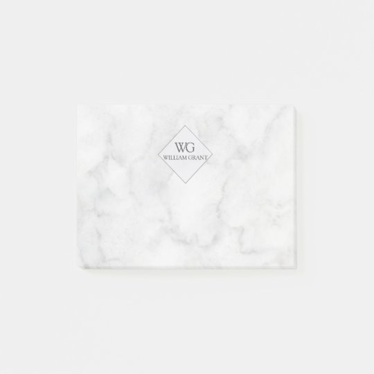 Classy Elegant  White Marble Monogram Post-it Notes