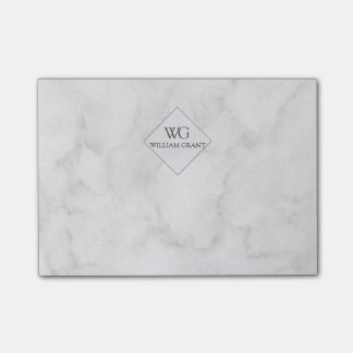 Classy Elegant  White Marble Monogram Post-it Notes