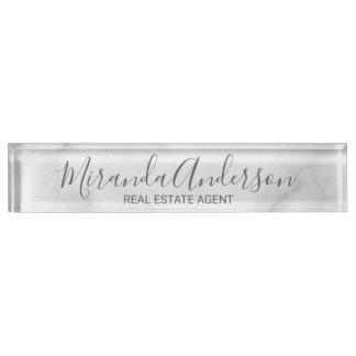 Classy Elegant White Marble Name Plate