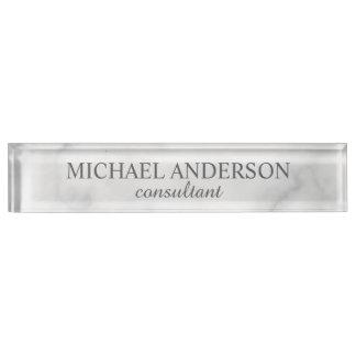 Classy Elegant White Marble Nameplate