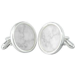 Classy Elegant White Marble Pattern Cuff Links