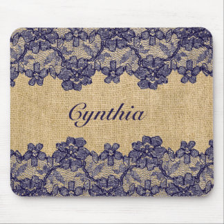 Classy Faux Burlap and Navy Lace Mouse Pad