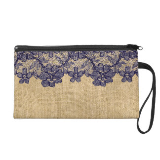 Classy Faux Burlap and Navy Lace Wristlet