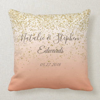 Classy faux gold confetti blush wedding collection throw pillow