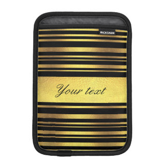 Classy Faux Gold Foil and Black Stripes iPad Mini Sleeves