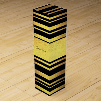 Classy Faux Gold Foil and Black Stripes Wine Gift Box