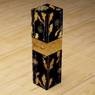 Classy Faux Gold Foil Flowers on Black Wine Gift Box