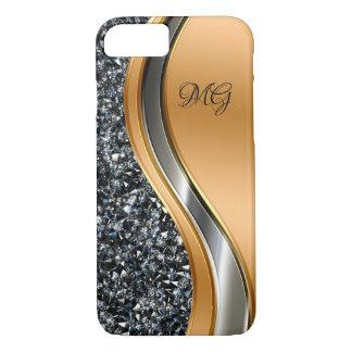 Classy Faux Jewel Monogram Design iPhone 8/7 Case