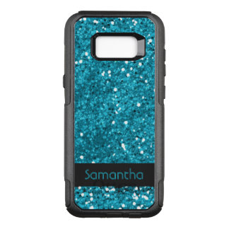 Classy Faux Turquoise Blue Glitter Pattern Name OtterBox Commuter Samsung Galaxy S8+ Case