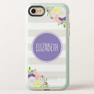 Classy Floral Beige Striped Purple Monogram Name OtterBox Symmetry iPhone 8/7 Case