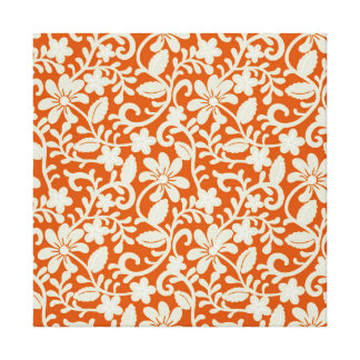 Classy Floral Damask Burnt Orange Pattern Gallery Wrapped Canvas