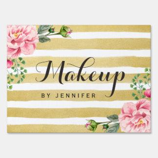 Classy Floral Gold Stripes Makeup Beauty Salon Sign