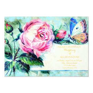 Classy Floral Rose Watercolor Flowers Wedding card