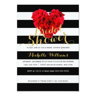 Classy Floral stripes bridal shower invitation