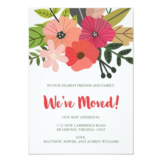 Classy Floral We've Moved Announcement