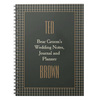 Classy Framed Bear Groom's Gay Wedding Notebook