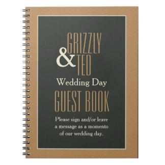 Classy Framed Brown Bear Gay Wedding Guestbook Spiral Notebook