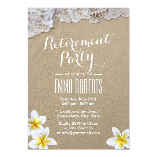 Classy Frangipani Beach Retirement Party Card