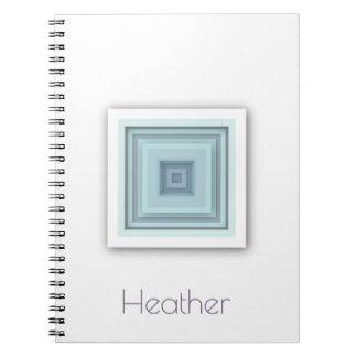 Classy Geometric Sky Blue & Purple Grey Squares Notebook