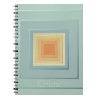 Classy Geometric Squares (light blue & yellow) Spiral Notebook