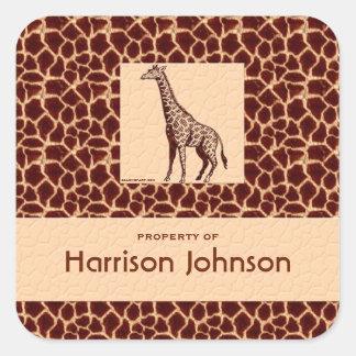 Classy Giraffe Print with Property Text Square Sticker