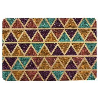 Classy Glitter Triangles Gold Foil Floor Mat