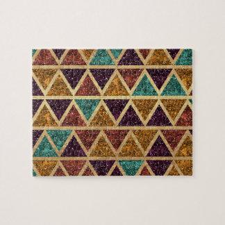 Classy Glitter Triangles Gold Foil Jigsaw Puzzle