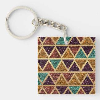 Classy Glitter Triangles Gold Foil Keychain