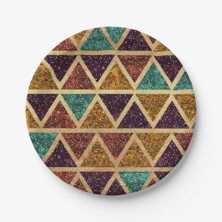 Classy Glitter Triangles Gold Foil Paper Plate