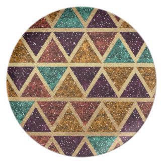 Classy Glitter Triangles Gold Foil Plate
