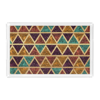 Classy Glitter Triangles Gold Foil Serving Tray