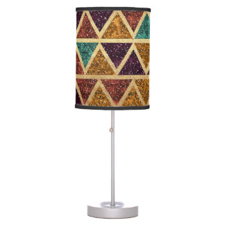Classy Glitter Triangles Gold Foil Table Lamps