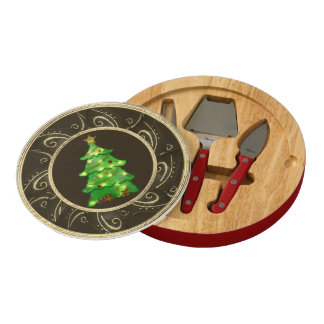 Classy Glowing Christmas Tree Gold Flourish Round Cheeseboard