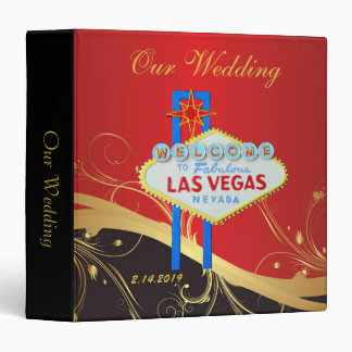 Classy Gold and Black Las Vegas Wedding Vinyl Binder