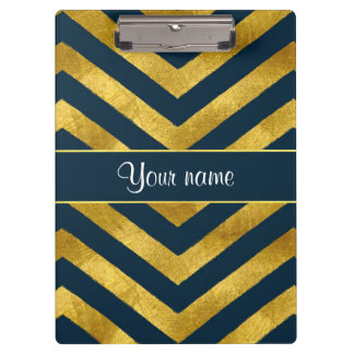 Classy Gold and Navy Blue Chevrons Clipboards