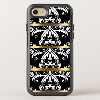 Classy Gold Black And White Damask Pattern OtterBox Symmetry iPhone 7 Case