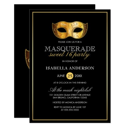 Classy Gold & Black Masquerade Sweet 16 Party Card