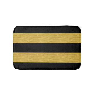 Classy Gold & Black Striped Bath mat