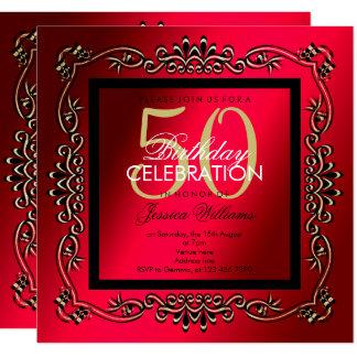 Classy Gold & Cerise Women's 50th Birthday Card